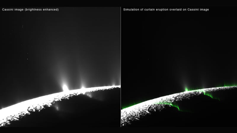 """Illustration for article titled """"Curtain Eruptions"""" on Enceladus Give Us a New Look at Saturn's Moon"""