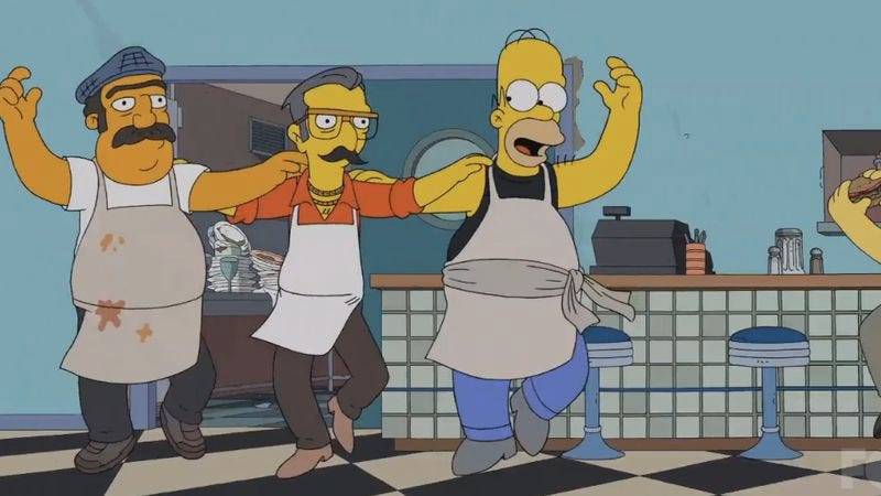 Illustration for article titled Homer goes Greek, but two great guests make for a solid Simpsons