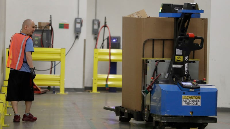 An Amazon robot at a Fulfillment Center in New Jersey, 2017.