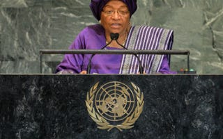 Ellen Johnson Sirleaf at the U.N. General Assembly (Stan Honda/AFP/Getty Images)