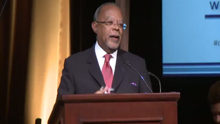 Henry Louis Gates Jr. during his acceptance speech after winning the Alfred I. duPont-Columbia University Award for his PBS series The African Americans: Many Rivers to Cross Jan. 20, 2015YouTube screenshot