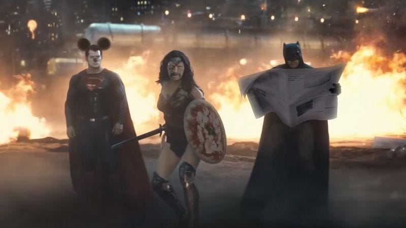 Illustration for article titled The sight gags fly fast and furious in this Batman V Superman trailer remix