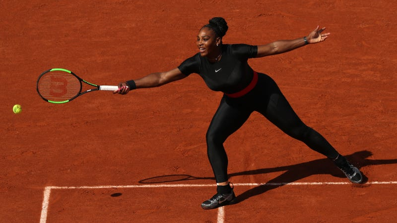 Serena Williams serves during her ladies singles first-round match against Kristýna Plíšková of the Czech Republic during day 3 of the 2018 French Open in Paris on May 29, 2018.