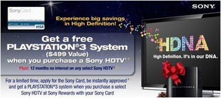 Illustration for article titled Sony Offers Free PS3 With Purchase of an HDTV in the US