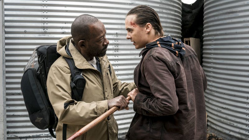 Morgan (Lennie James) meets Nick (Frank Dillane) in Fear the Walking Dead.