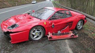 Illustration for article titled Man Crashes Ferrari To Save Hedgehog