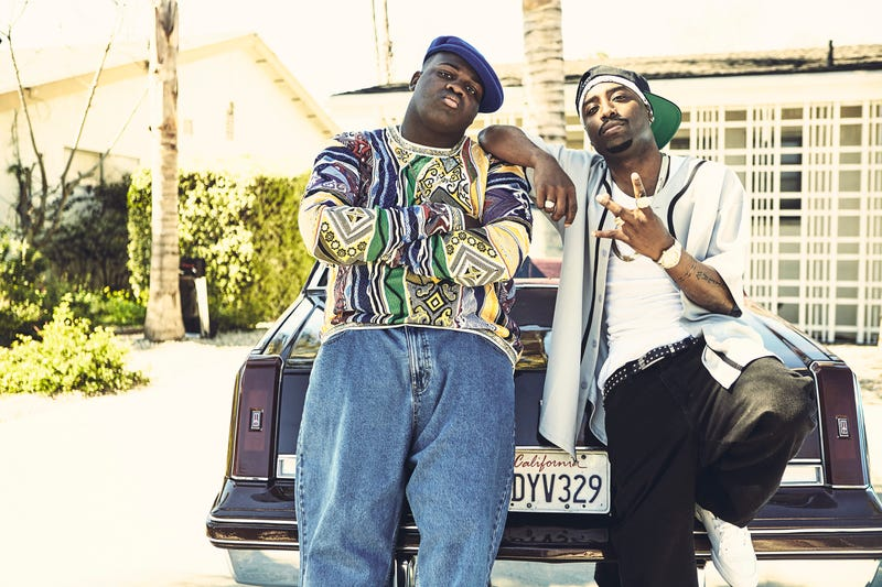Wavyy Jonez as The Notorious B.I.G. (left) and Marcc Rose as Tupac Shakur in Unsolved: The Murders Of Tupac And The Notorious B.I.G. (Photo: James Minchin III/USA Network)
