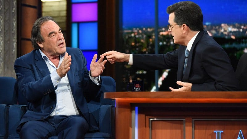 Oliver Stone, Stephen Colbert (Photo: Scott Kowalchyk/CBS)