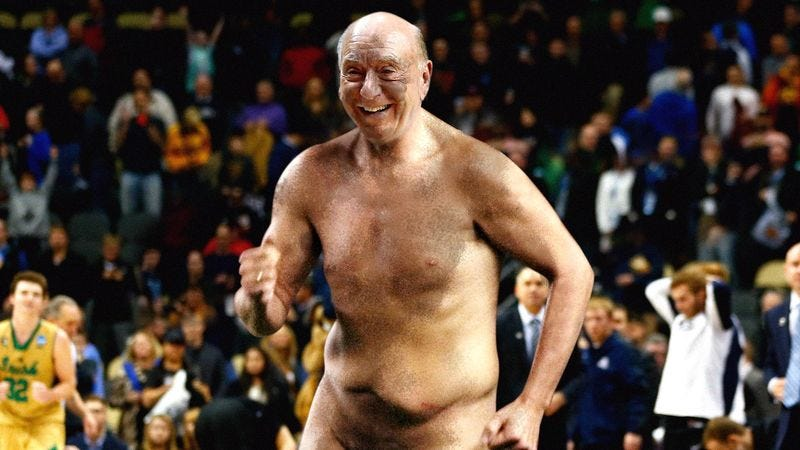 Illustration for article titled Nude, Ash-Streaked Dick Vitale Proclaims This What March Madness All About