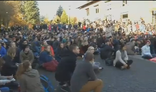 Students of Lewis & Clark College in Portland, Ore., hold a sit-in to protest the racial comments made on the social networking site Yik Yak.KOIN 6 screenshot