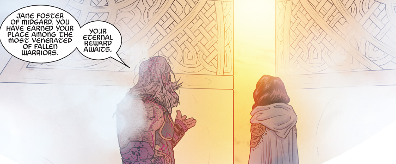 Odin guides a reluctant Jane Foster to the afterlife in The Mighty Thor #706.