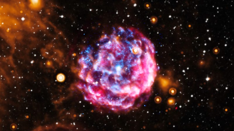 An x-ray pulsar inside a supernova remnant.