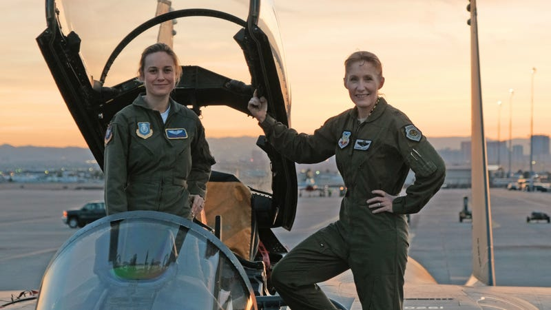 Brie Larson, star of Captain Marvel, does some research with Brigadier General Jeannie Leavitt, 57th Wing Commander at Nellis Air Force Base in Nevada.