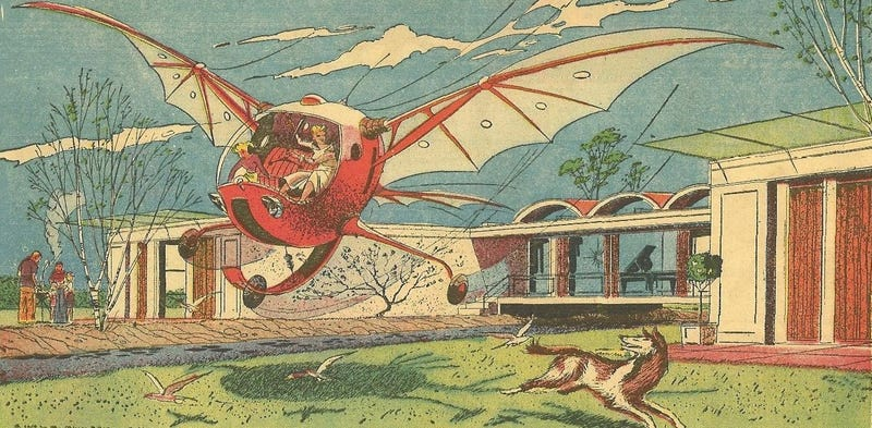 "The ""flapwing flycar"" as it was depicted in the May 10, 1958 edition of the Sunday comic strip Closer Than We Think by Arthur Radebaugh (Novak Archive)"