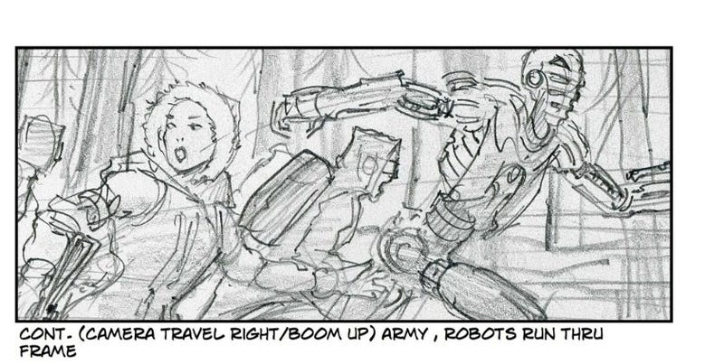 Illustration for article titled Thrilling Storyboards for Spielberg's Delayed Robopocalypse Movie