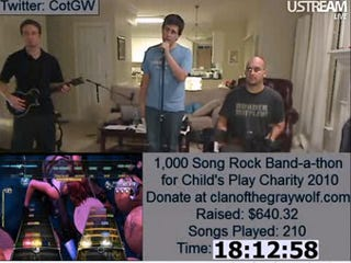 Illustration for article titled 1,000 Song Rock Band Marathon Live-Streaming for Charity Now