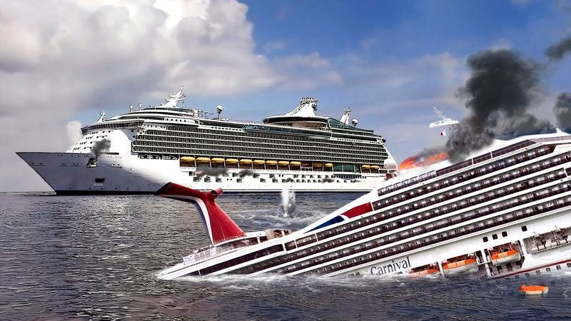 shelling from royal caribbean s m s allure sinks carnival cruise