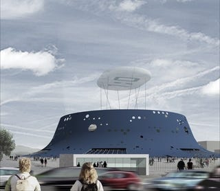Illustration for article titled Croatia's Blue Volcano Stadium Will Have a Green 'Cloud' Hanging Above It