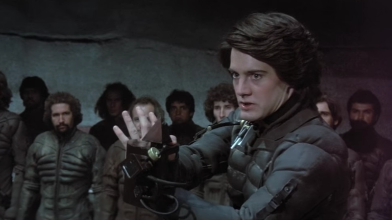 Paul Atreides (Kyle MacLachlan) tests a weapon in 1984's Dune.