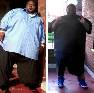Larry Evans at 800 pounds (left) and after months of diet and exerciseCourtesy of Larry Evans