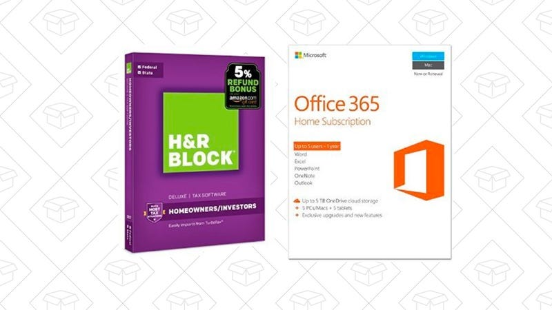 H&R Block Tax Software Deluxe + State 2017 with Microsoft Office 365 Home 1-year subscription | $90 | Amazon