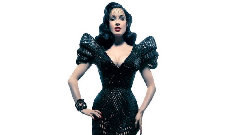 Illustration for article titled Burlesque superstar Dita Von Teese goes Metropolis in this 3D-printed dress