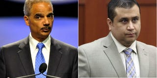 U.S. Attorney General Eric Holder (Tim Boyles/Getty Images); George Zimmerman (Gary W. Green/Pool/Getty Images)