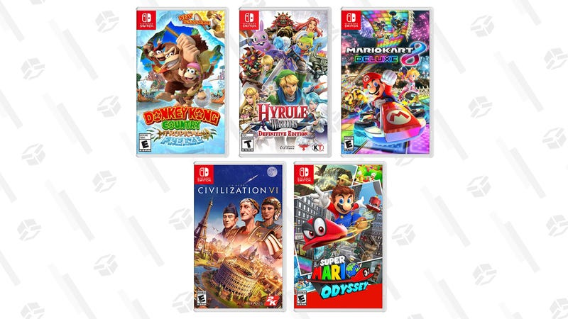 Mario Kart 8 Deluxe [Digital Code] | $40 | AmazonDonkey Kong Country: Tropic Freeze [Digital Code] | $40 | AmazonHyrule Warriors: Definitive Edition [Digital Code] | $40 | AmazonSuper Mario Odyssey [Digital Code] | $40 | AmazonSid Meier's Civilization VI [Digital Code] | $40 | Amazon