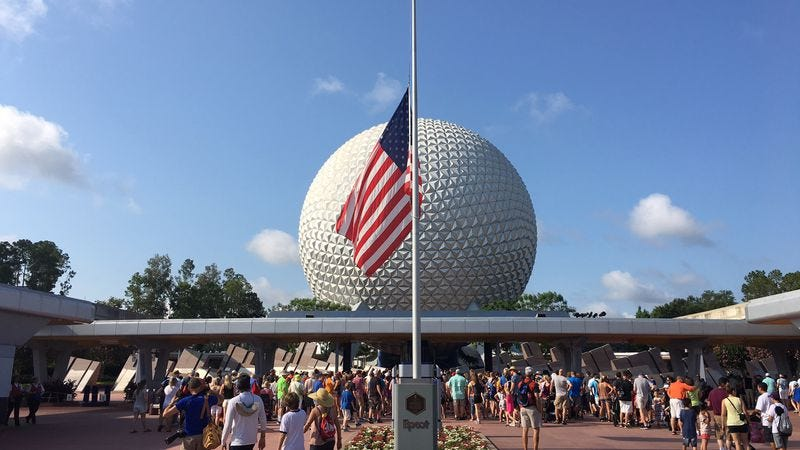 The flag flying at half-mast at EPCOT, a day after the Pulse nightclub attack. (Photo: Getty Images)