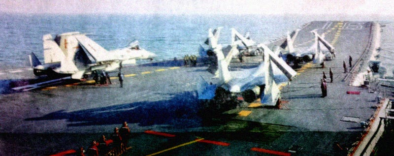Illustration for article titled First photo of the fully operative Chinese rivals to the US Navy F-18