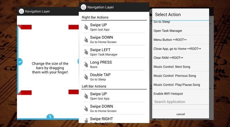 Illustration for article titled Navigation Layer Adds a Ton of Edge Gestures to Android