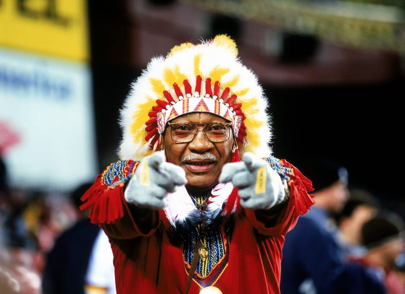 """Washington Redskins fan """"Chief Zee"""" watches the game against the Philadelphia Eagles on Dec. 27, 2003, at FedEx Field in Washington, D.C. Jerry Driendl/Getty Images"""