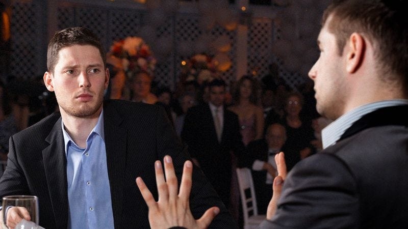 Illustration for article titled Man Scolded By Brother-In-Law For Not Taking Better Advantage Of Open Bar