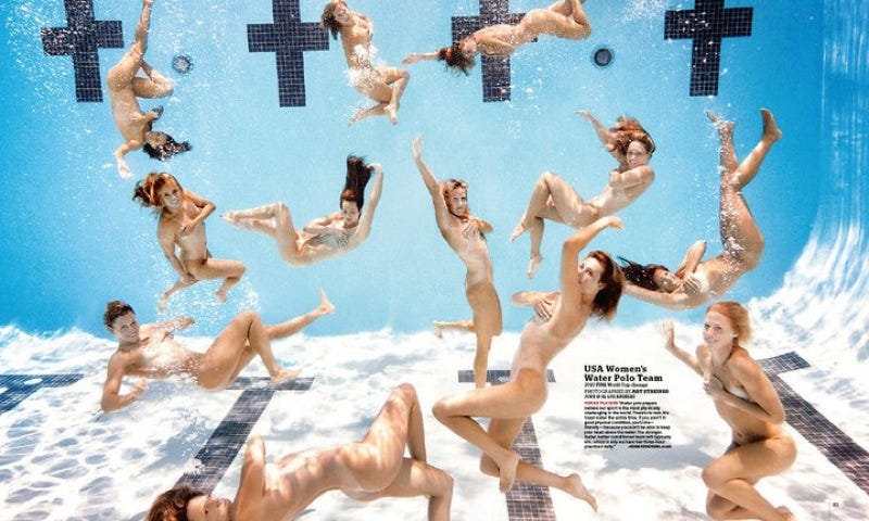 Illustration for article titled American Lady Water-Athletes Did The Naked Pool Shoot Well Before The Brits