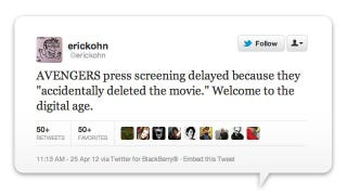 Avengers Screening Delayed Because Some Dunce DELETED THE FREAKING MOVIE