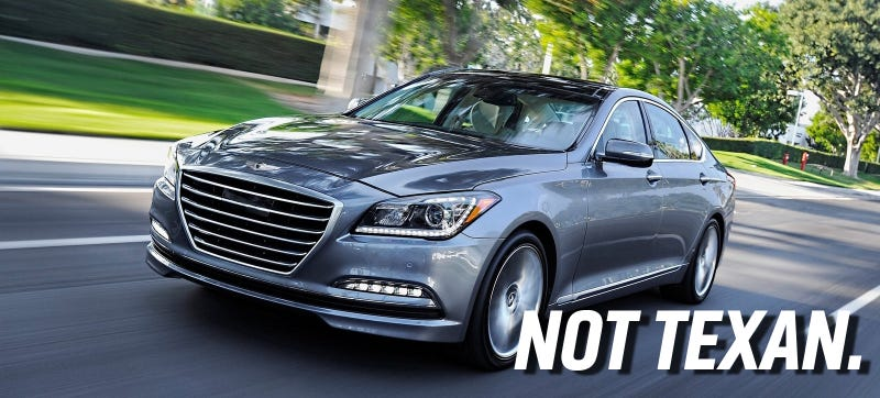 Illustration for article titled Like Hell The Hyundai Genesis Is The 'Car Of Texas'