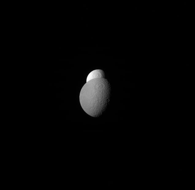 Two Of Saturn's Moons Play Hide-And-Seek In This Stunning Image