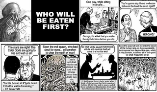 """Illustration for article titled """"Who Will Be Eaten First?"""" — a Lovecraftian parody of Chick tracts"""