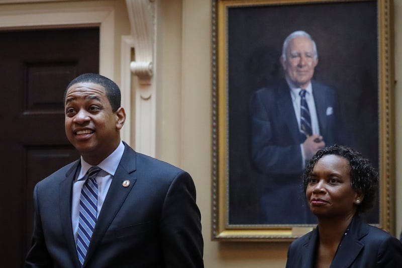 Virginia Lt. Governor Justin Fairfax (L) arrives on the Senate floor at the Virginia State Capitol, February 8, 2019 in Richmond, Virginia.