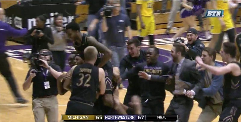 Illustration for article titled Northwestern Beats Michigan On Length Of The Court Pass, Buzzer-Beater