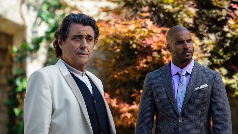 American Gods' Ian McShane and Ricky Whittle look confused (Photo: Starz)