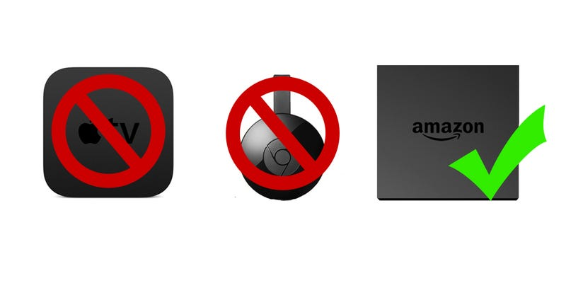 Illustration for article titled Amazon Just Banned the Sale of Google Chromecast and Apple TV