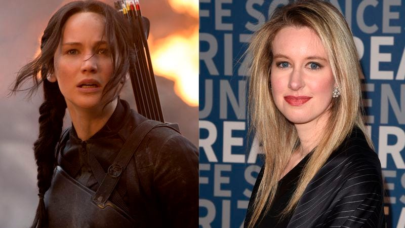 Jennifer Lawrence and Theranos founder Elizabeth Holmes (Photos: The Hunger Games: Mockingjay—Part 1 / Getty Images)