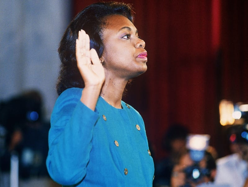 Anita Hill takes the oath Oct. 12, 1991, before the Senate Judiciary Committee in Washington D.C.JENNIFER LAW/AFP/Getty Images