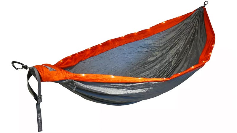 A Hammock With LED Lighting and Inflatable Mattress Sounds Like a Hanging Hotel Room
