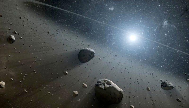 Recreación artística de un cinturón de asteroides
