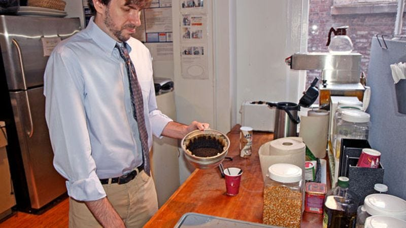 Durkee isn't exactly certain when his responsibilities grew from just brewing the coffee to serving it around the office.