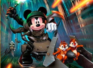 Illustration for article titled Mickey wields his lightsaber in the first official Disney-Star Wars promo art