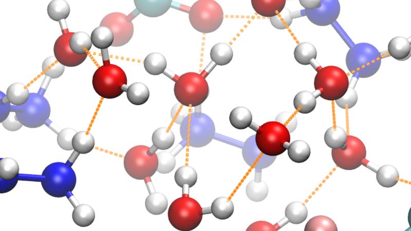 Water and hydrazinium trifluoroacetate mix