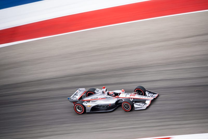 Will Power (#12) has the best lap time in qualifying to push him to his 56th pole in his career.